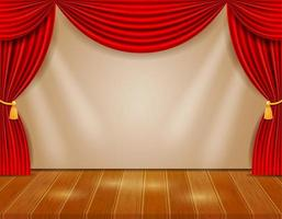 Theaterbühne mit roten Vorhängen