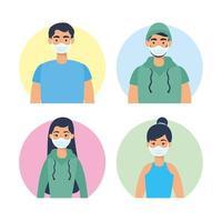 ungdomars karaktärer med ansiktsmasker