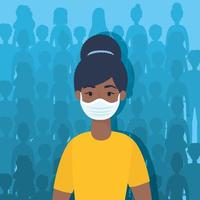 ung kvinna karaktär med en ansiktsmask