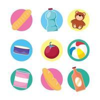 Spielzeug und Lebensmittel Icon Set vektor
