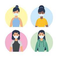 unga kvinnas karaktärer med ansiktsmasker vektor