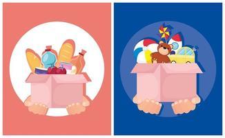 Wohltätigkeits- und Spendenbanner mit Essen und Spielzeug vektor