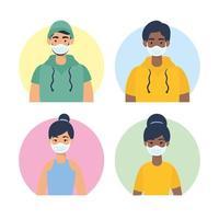 Jugendfiguren mit Gesichtsmasken