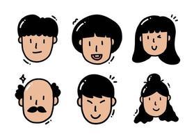 niedliche Zeichentrickfiguren in verschiedenen Altersgruppen und Geschlechtern vektor