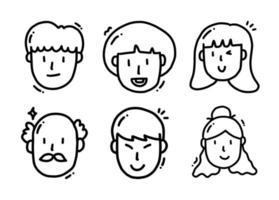 söta seriefigurer i olika åldrar och kön vektor