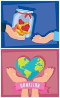 välgörenhets- och donationsbanneruppsättning vektor