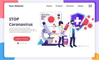 Menschen kämpfen mit Viren, bekämpfen Covid-19, Impfstoff gegen das Corona-Virus-Konzept. modernes flaches Webseiten-Design für die Entwicklung von Websites und mobilen Websites. Vektorillustration