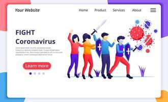människor slåss med virus, bekämpa covid-19, vaccin botemedel mot corona virus koncept. modern platt webbdesign för webbplats- och mobilwebbplatsutveckling. vektor illustration