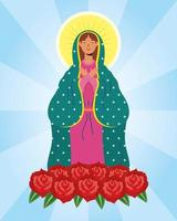 jungfru mary karaktär med rosor vektor
