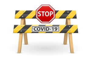Stoppbarriere mit Covid-19-Zeichen vektor