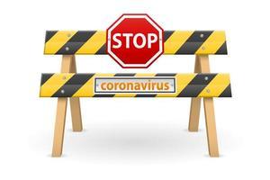 stopp barriär med coronavirus tecken