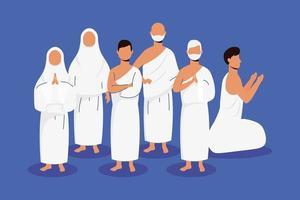 hajj pilgrimsfärd muslimer vektor
