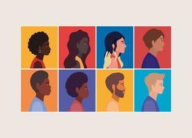 mångfald av kvinnor och män tecknat i ramar