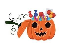 Halloween Kürbis Cartoon mit Süßigkeiten Design