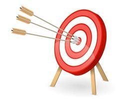 mål med pilar i bullseye