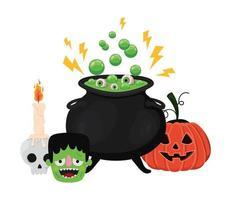 Halloween Hexenschale Schädel Frankenstein und Kürbis Design vektor