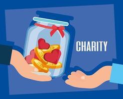 Wohltätigkeits- und Spendenbanner mit vollem Glas vektor