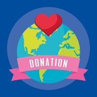 välgörenhets- och donationsbanner med jordplaneten vektor