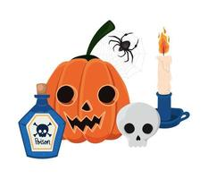 Halloween Kürbis Cartoon Schädel Kerze Spinne und Gift