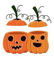 halloween två pumpor tecknat med täcker vektor design