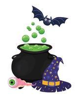 Halloween Hexe Schüssel Fledermaus Auge und Hut Design vektor