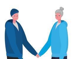 äldre kvinna och man teckningar håller hand