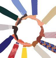 Vielfalt der Hände, die sich im Kreis berühren vektor