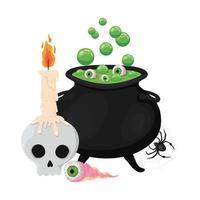 Halloween Hexe Schüssel Schädel Auge und Spinne Design vektor