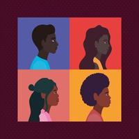 mångfald av kvinnor och män tecknat i ramar vektor