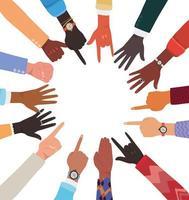 mångfald av händer hud med olika tecken