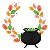 Halloween Hexenschale mit Blättern Design vektor