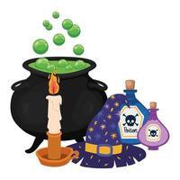 Halloween Hexenschale Kerzengifte und Hut Design vektor