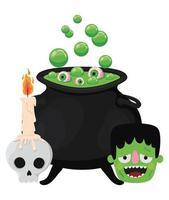 Halloween Hexenschale Schädel und Frankenstein Design vektor