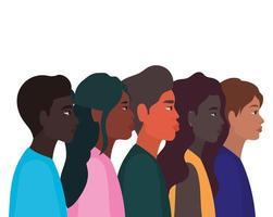 mångfaldskinn av svarta kvinnor och karikatyrer