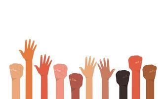 Faust und offene Hände hoch