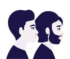 män karikatyrer i sidovy i blått