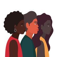 Diversity-Skins von schwarzen Frauen- und Männer-Cartoons vektor