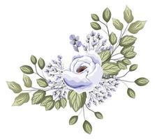 weiße Rosenblume mit Knospen- und Blattmalereientwurf