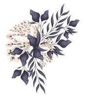 rosa Knospenblumen mit Blattstraußmalerei vektor