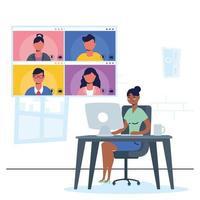 kvinna på datorn för ett virtuellt konferenssamtal vektor