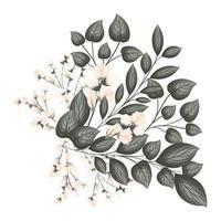 weiße Knospenblumen mit Blattstraußmalerei vektor