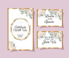 Hochzeitseinladungen mit Goldverzierungsrahmen eingestellt vektor
