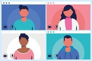 människor på ett virtuellt konferenssamtal vektor