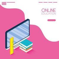 online-utbildning och e-learning banner med dator vektor