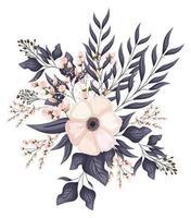 weiße Blume mit Knospen- und Blattmalerei