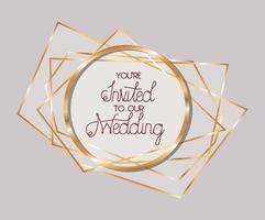 bröllopsinbjudan i guldramdesign