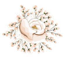 Knospen um weiße Blumenmalerei Design