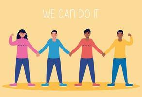 vi kan göra det meddelande med människor som håller hand vektor