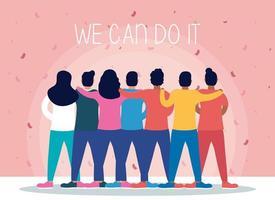 vi kan göra det med människor tillsammans vektor