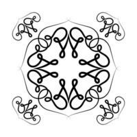 schwarzer Ornamentrahmen mit Kurvenentwurf vektor